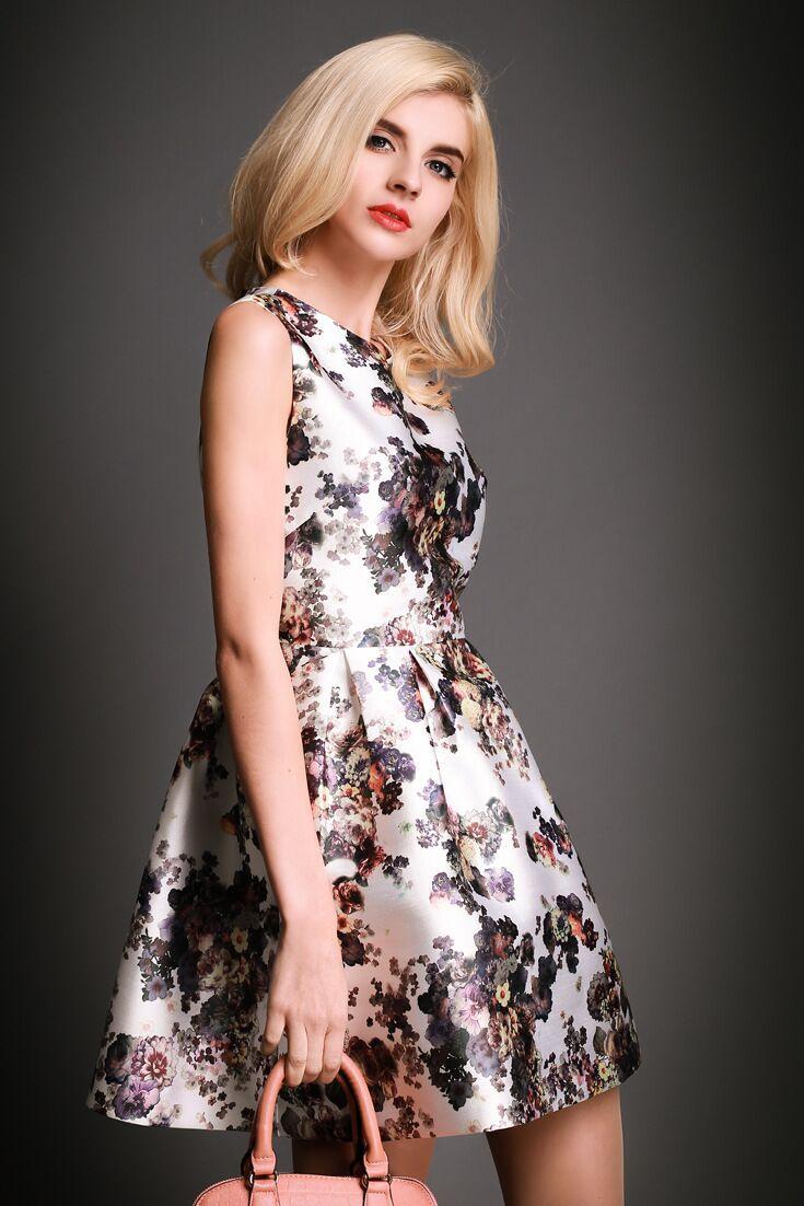 Free shipping! 2015 new arrive European Refreshing Tencel rose print dress sleeveless vest dress(China (Mainland))