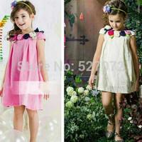 100%cotton2015 summer brand designer girls dress with appliques,European girls rose dress .kids time