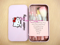 New Arrival Cute Hello Kitty Makeup brush 7 in 1 (1 set= 7pcs,7pcs in 1bag) With Metal box Free Shipping