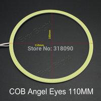 Free Shipping!!2Pieces(1pair) Angel Eye Auto Halo Rings COB 110MM Angel Eyes Car Headlight Motorcycle White Super Bright 12V Led