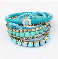 2015 New Arrival Women Strand Bracelets Fashion Bohemia Style Link Chain Multilayer Blue Bead Bracelets Bangle
