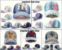 2015 Fashion female Sun-shading baseball cap ,Denim and cotton Rhinestones peaked cap,bling bling Casual snapback hats 25pcs/lot