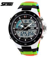 SKMEI Brand Men Sports Military Watches Fashion Casual Dress Wristwatches 2 Time Zone Digital Quartz LED Watches