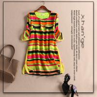 Free shipping! 2015 spring o-neck three quarter sleeve color stripe loose-waisted c254165 silk one-piece dress