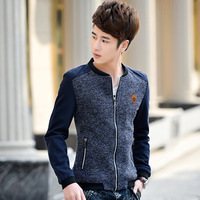 2015 spring and autumn male jacket casual slim stand collar coat male jacket color block decoration
