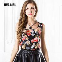2015 summer new women's sleeveless vest printed chiffon shirt loose wild bottoming shirt cheap wholesale