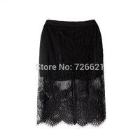 Slit Bodycon Skirt 2015 Lace Womens Long Skirts Female Black Saias Curta Femininos Vintage Ladies pencil skirt in wedding New