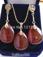 Red Jade Drop 18KGP Fortune Dangle Pendant Necklace Earrings Set