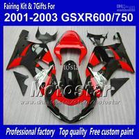 Body work fairings for SUZUKI GSXR 600 K1 2001 2002 2003 GSXR 750 01 02 03  glossy black red fairing set QQ70