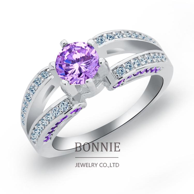 New-York-City-Princess-Cut-Clear-Red-Purple-CZ-Diamond-Engagement-Ring ...