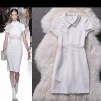 2015 New Arrival Summer Women White Bodycon Dress Short Sleeve Turn-Down Neck Work Office Sexy Party Dresses  LIREN OM01105