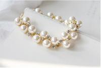 2015 New Arrival Vintage Chain & Link Bracelets Trendy Women Simulated pearl Rhinestone Bracelet