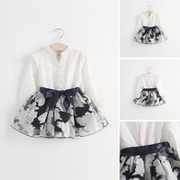2015 Spring Korean Style children's clothing 5pcs/lot wholesale baby girls faux two-piece Organza dresses 9870