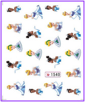 1X  Nail Sticker Cartoon Princess Mermaid Water Transfers Stickers Nail Decals Stickers Water Decal Opp Sleeve Packing #1540