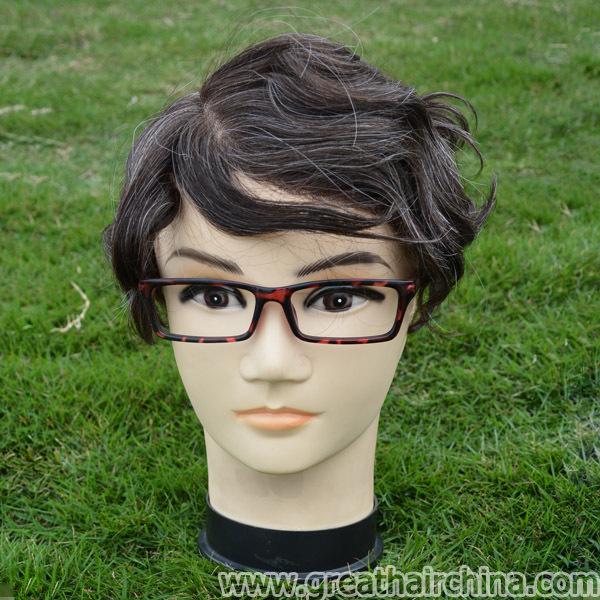 "Stock Natural Hair Mixed Grey Color Thin Skin Mens Toupee 10""*8"" Natural Looking Hair Replacements for Men, Free Shipping(China (Mainland))"