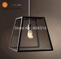 LOFT Pendant Lamps Vintage Brief LOFT Iron Pendant Lamps Living Room Bar Hotel,Flament Pendant Edison Bulb Glass Boxes