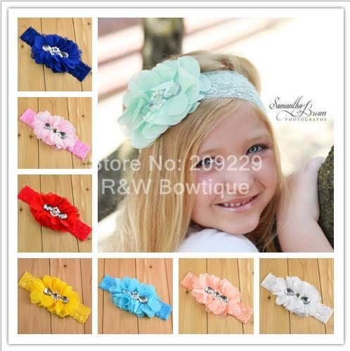 Free Shipping 50pcs/lot BH15008 Girl Lace Headband with Shabby Chiffon Fower w/Rhinestone Wholesale Girls Hair Accessories(China (Mainland))