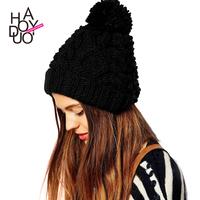 Wool knitted rib knitting hat fashion coarse twist ear haoduoyi thermal knitted hat