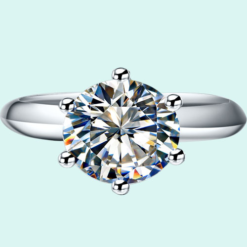 Gold Jewelry 6Prongs 18K 1.5ct Synthetic Diamond Round Engagement Ring Brand Women Solid 18K Gold Jewelry Valueable Promise Love(China (Mainland))