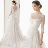 By Express delivery New Style Luxurious Fashion lace long-sleeved wedding dress bride trailing Free shipping