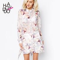 2015 spring and summer flowers print chiffon shirt placketing long design female shirt haoduoyi