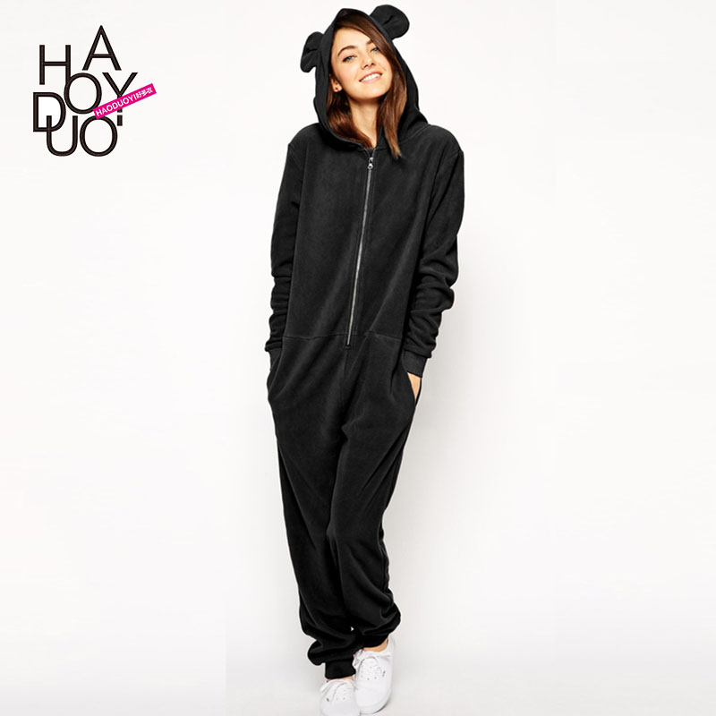 2015 spring and summer ears with a hood pocket one-piece sweatshirt casual jumpsuit haoduoyi(China (Mainland))