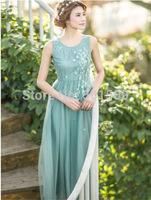 free ship floral beading long dress vintage medieval dress Renaissance princess Victorian dress/Marie long dress