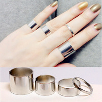 2015 new fashion 4pcs/set Shiny Punk style Gold Silver plated midi Finger Knuckle Charm Leaf Ring Set for women Jewelry 80205
