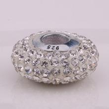 Z028 925 sterling silver DIY thread CZ Crystal Beads Charms fit Europe pandora Bracelets necklaces enpanewa