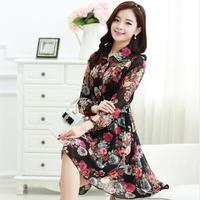 M-XXL size cute female dress 2015 new korean style long sleeve printed floral plus size dress women roupas free shipping