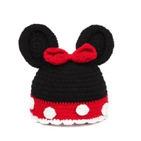 Red Bowknot Hat Bow Handmade Photography Props Knit Newborn Baby Animal Costume Knitted Infant Beanies Crochet Kids Boy Sea Sale