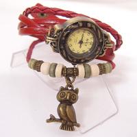 Genuine Cow leather strape analog watch wholesale fashion vintage OWL tag wrist watch women ladies KOW047