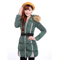 2014 winter slim thermal with a hood cotton-padded jacket female medium-long wadded jacket plus size thickening outerwear mf