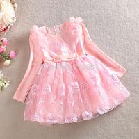 2015 Girls spring lace flower dress , kids girl dresses , 3-7YEARS , 5pcs/lot   WMX27