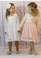 Hot Sell  spring and autumn long sleeve  embroidery yarn  children dress Wholesale pink white