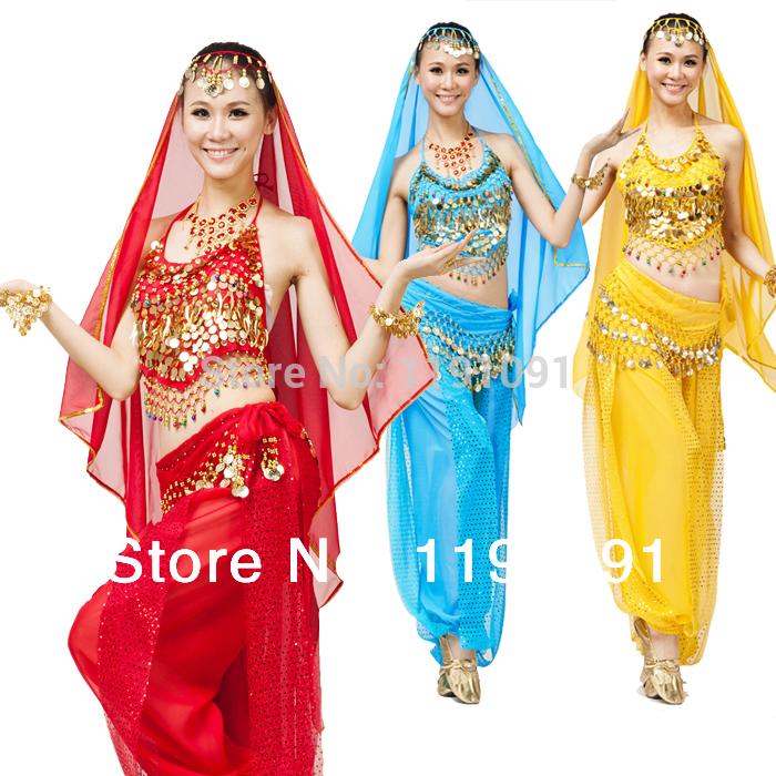 Free Size Top+Pant 2 Pcs Set Women Belly Dance Clothes 6 Colors Indian Dancing Costume India Sarees(China (Mainland))