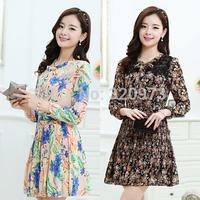 M-XXL size cute summer ladies dress 2015 new korean style plus size long sleeve women flower print dress free shipping