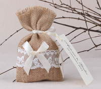 "Free Shipping! 96 pcs/lot 4"" * 6.5"" Burlap Bags with Drawstring wedding party favor bags, Thank You Rustic Candy Bags"