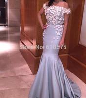 Elegant Long Evening Gown Off The Shoulder Flower Women Dress Formal Mermaid Prom Dresses Robe De Soiree