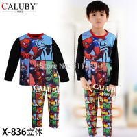 2015 Children's long-sleeved tracksuit Altman Spiderman suit / baby pajamas / Kids suits X-836