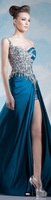 Sexy High Slit Strech SAtin One Shoulder Rhinestone Crystal Evening Dress Gown
