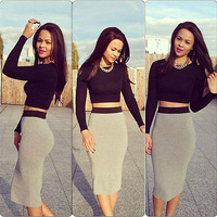 Womens Classics Two Piece Long Sleeve High Waist Top with Mini Skirt Set Clunwear Set