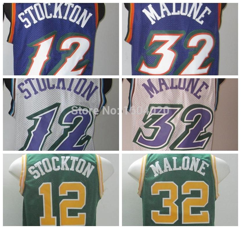 Utah Jokul Karl Malone Jersey #32 Cheap Throwback Basketball Jerseys Retro John #12 Stockton Jersey Stitched Logo(China (Mainland))