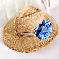 Fashion wholesale wide brim straw hat sunflower sunhat travel hat beach hat cap travel accessories folded hat
