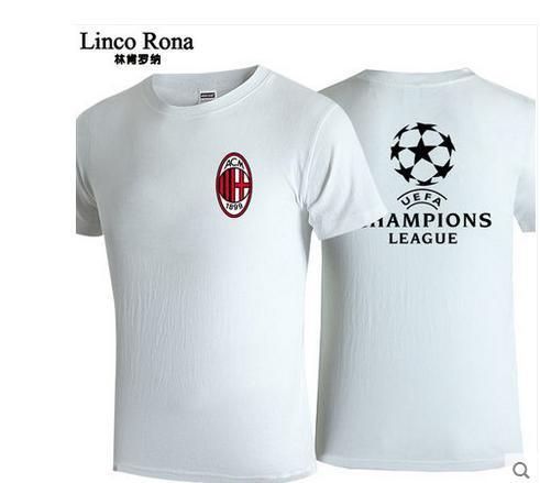 AC Milan short sleeve T-shirt man football fans wear half sleeve T shirt Serie A champions new summer cotton T-s hirt(China (Mainland))