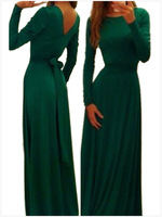 L064,Free shipping autumn outfit render dress long-sleeved round collar v-shaped backless contracted sexy hip dress