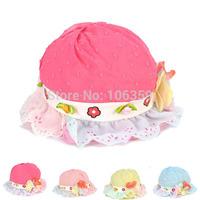 New Arrival Chiffon Lace Dot Baby Hat Girls Flower Sun Hat Children's Spring Summer Sunbonnet Beach Cap 10pcs SW037