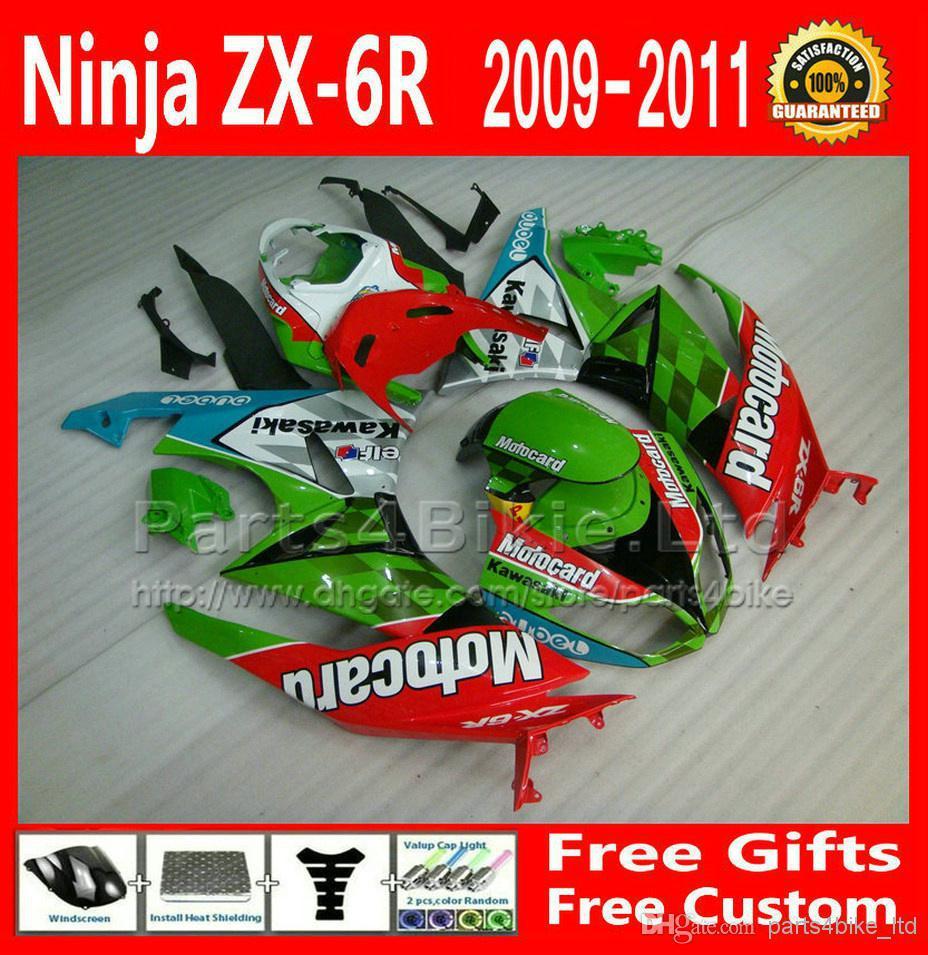 Fairings kit for 09-12 ZX 6R Kawasaki ZX6R 2009 2010 2011 2012 fairing black green red motorcycle parts DSFRETW(China (Mainland))