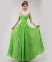2015 new arrival Double-shoulder green V Neck crystal long prom dress party slim chiffon graduation dresses