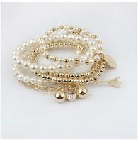 2015 New Factory Direct Sales Fashionable Multilayer Pearl Pentacle Pyramid Bangle Bracelet Female Handmade Braided Bracelets